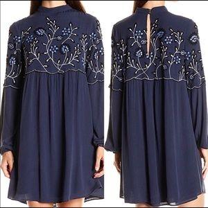 Parker Sadie Embroidered Collar Babydoll Dress M